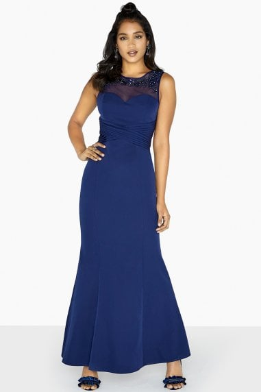 Joni Embellished Yoke Sheath Dress