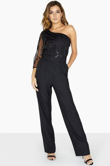 Bonnie Sequin Mesh One Shoulder Jumpsuit