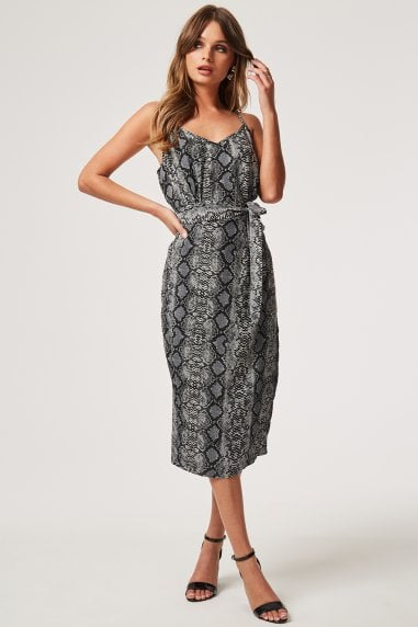 Nava Snake Print Satin Slip Dress