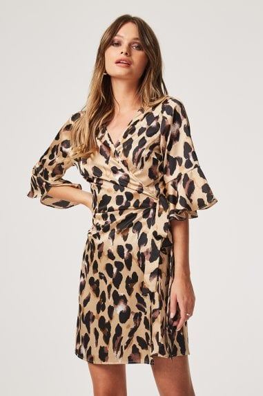 Jagger Leopard Satin Wrap Dress