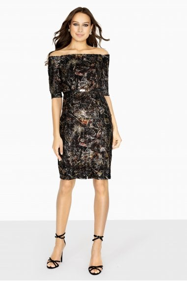 Nelson Bardot Dress In Copper Jacquard
