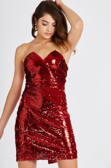 Bellerose Red Sequin Bodycon Dress