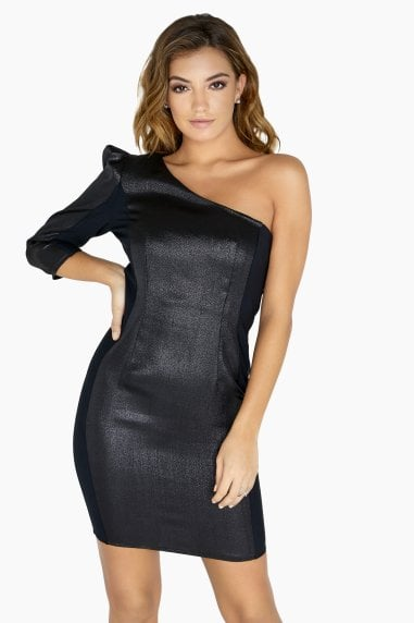 Dionne One Shoulder Dress In Lurex
