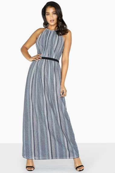 Kylie Metal Stripe Skater Maxi Dress