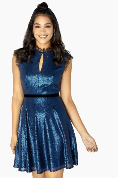 Tori Sequin And Lace Skater Dress