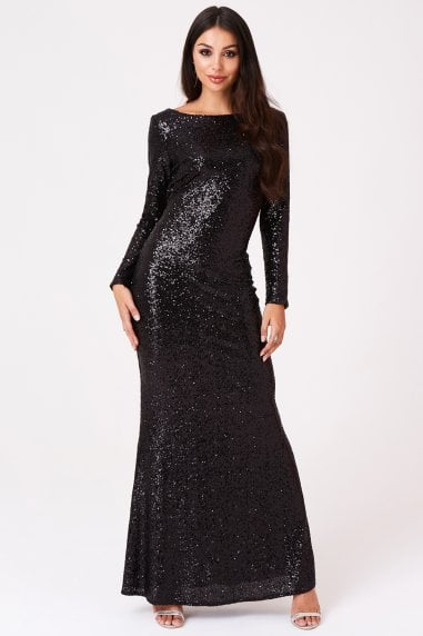 Sequin Cowl Back Maxi Dress