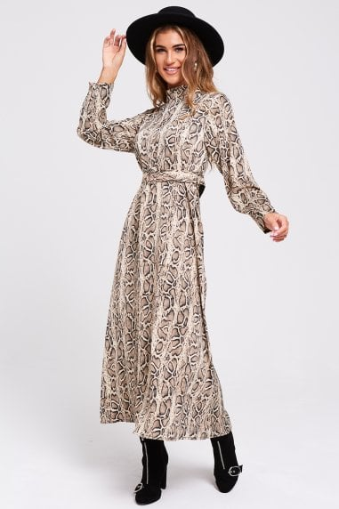 Lenz Snake Print Belted Maxi Dress
