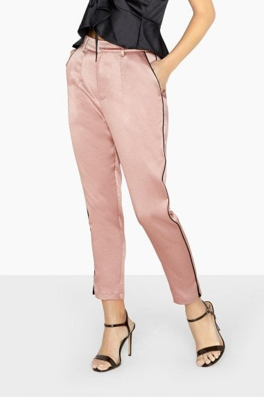 Whitney Satin Trousers With Contrast Piping