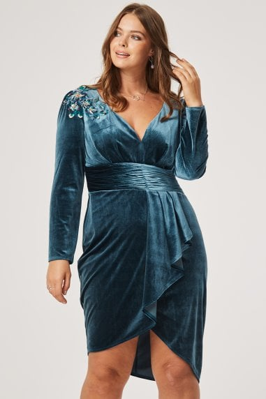 Cali Velvet Mock Wrap Dress