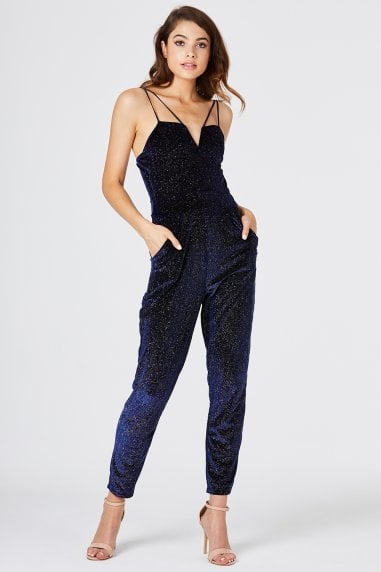 Manhattan Navy Lurex Stripe Jumpsuit