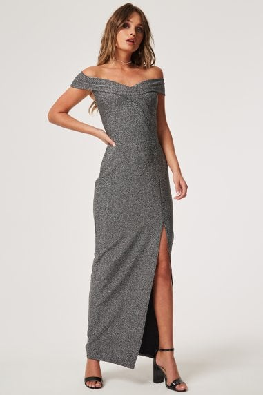 Pose Silver Foldover Bardot Maxi Dress