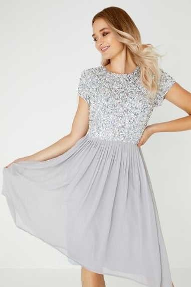 Luxury Briella Grey Hand-Embellished Pearl Top Midi Dress