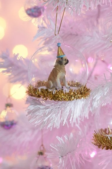Party Pup Pug Tinsel Bauble
