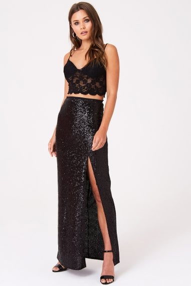 Sequin Split Front Skirt