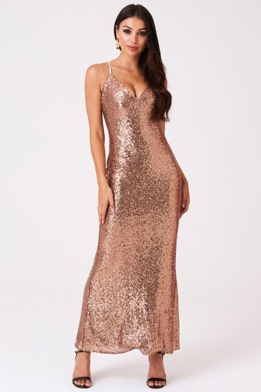 Sequin Strappy Sheath Dress