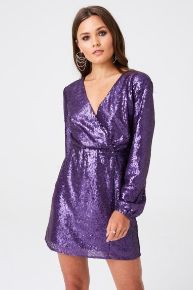 Sequin Mock Wrap Mini Dress