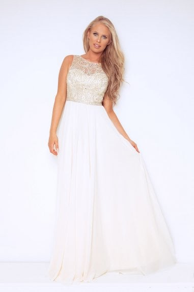 Laus Cream Maxi Dress