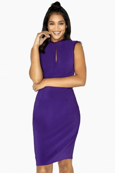 Frankie Lace Trim Pencil Dress With Keyhole