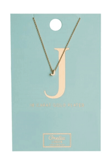 Orelia Gold Plated Initial J Necklace