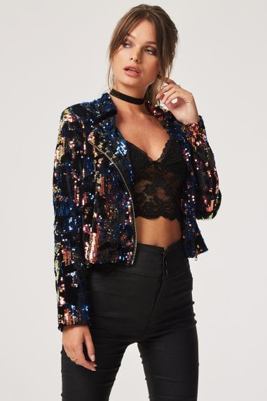 Soho Sequin Biker Jacket