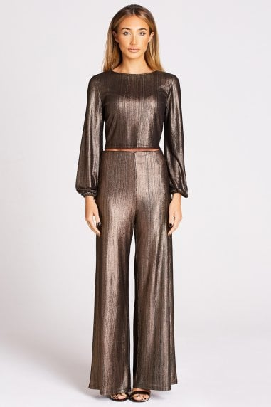 Metallic Copper Flare Trousers