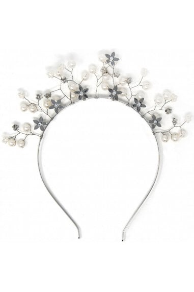 Silver Floral Embellished Crown Headband