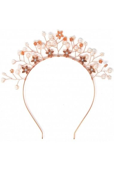 Rose Gold Floral Embellished Crown