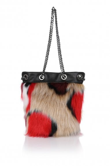 Real Leather Faux Fur Bucket Bag
