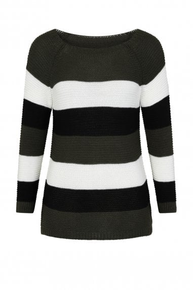 Dawson Khaki Stripe Knitted Jumper