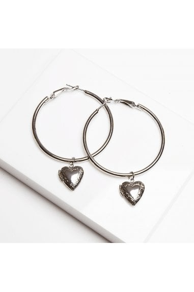 Gracie Heart Locket Hoop Earrings