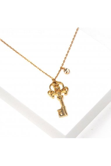 Gold Key and Crystal Necklace