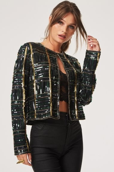 Luxury Leomie Check Hand Embellished Sequin Jacket