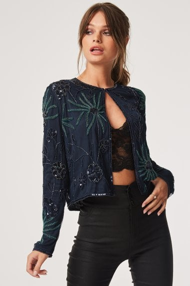 Luxury Leomie Floral Hand-Embellished Sequin Jacket