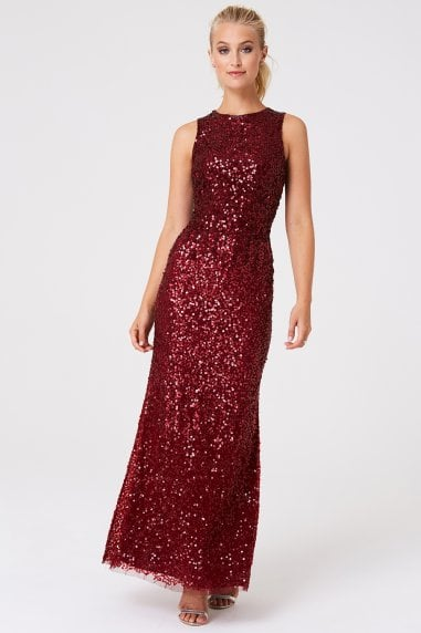 Illaria Red Ombre Hand Embellished Sequin Maxi Dress