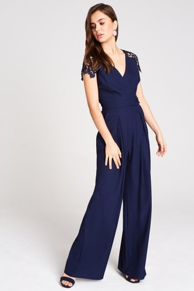 6ca05ee2b7be Mara Navy Tie Back Lace Jumpsuit