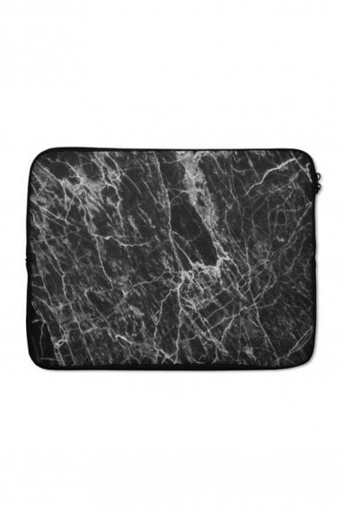 Black Marble Print Laptop Sleeve 15""