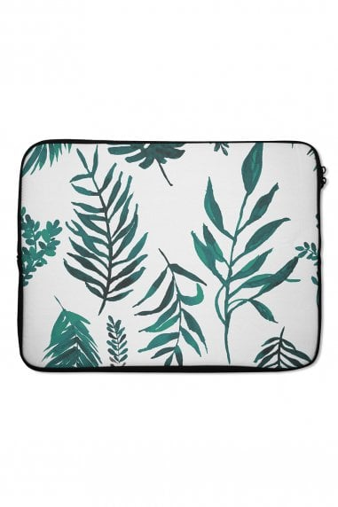 Palm Leaf Print Laptop Sleeve 15""