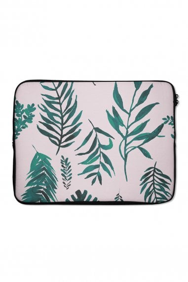 Pink Palm Leaf Print Laptop Sleeve 15""