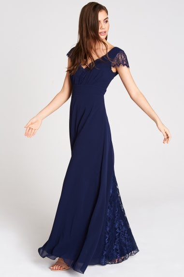 Bianca Navy Lace Trim Maxi Dress