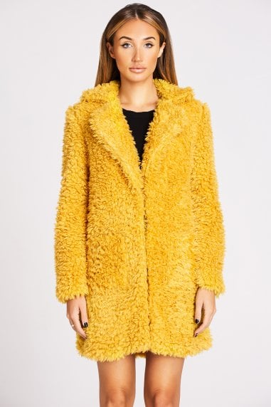 Mustard Faux Fur Teddy Coat