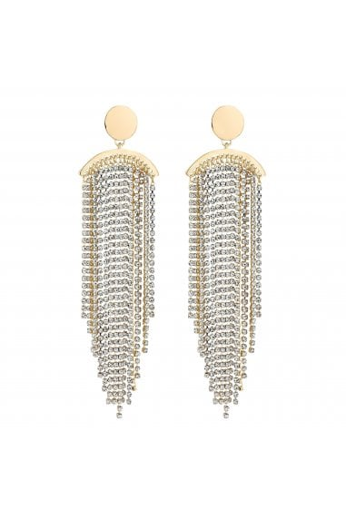 Gold Diamante Tassel Statement Earrings