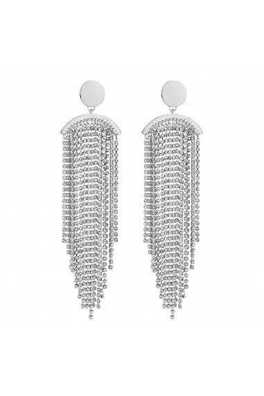 Silver Diamante Tassel Statement Earrings