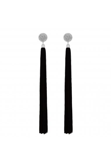 Black Oversized Tassel Drop Earrings