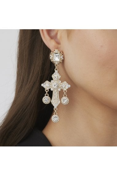 Gold Crystal Oversized Cross Statement Earrings