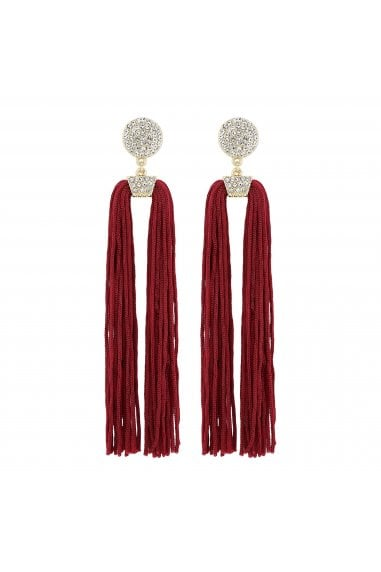 Red Pave Disc Tassel Statement Earrings