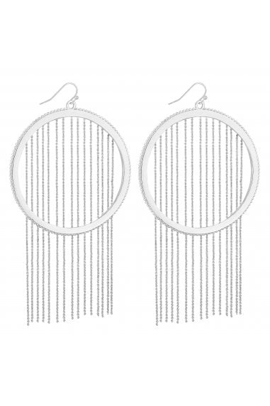 Silver Chain Fringed Hoop Drop Earrings