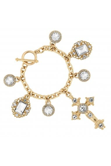 Gold Crystal Oversized Cross Statement Bracelet