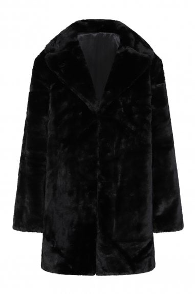 Beckton Black Faux Fur Coat