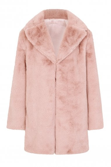 Beckton Pink Faux Fur Coat