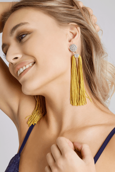 Gold Pave Disc Tassel Statement Earrings
